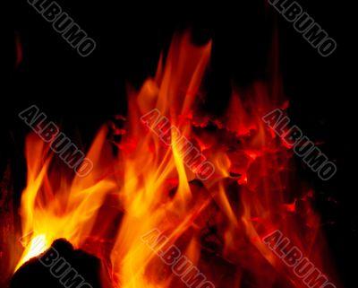 Burning coal in a furnace