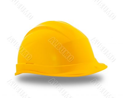 Yellow protective construction helmet