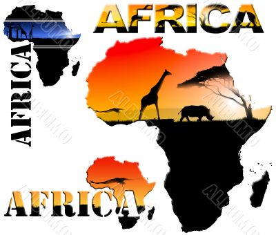 Set Africa Map Illustration