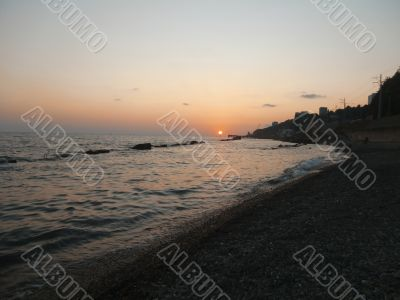 Golden sunset and Black sea. Russia summertime