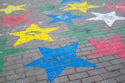 Painted star in the school yard
