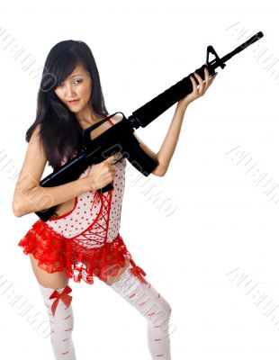 sexy asian female with rifle