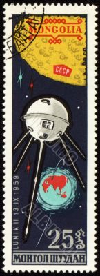 Soviet spaceship Luna-2 on Mongolian post stamp