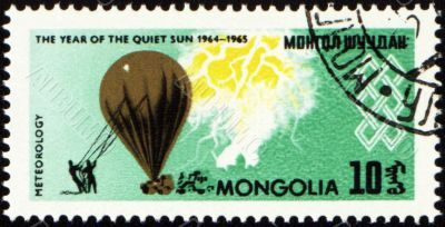 Meteorological balloon on post stamp