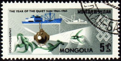 Research ship and bathysphere on post stamp