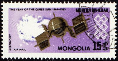 Weather satellite on post stamp