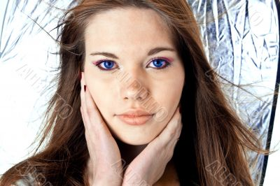 female with blue eyes
