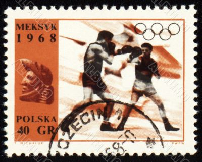 Boxing on post stamp of Poland