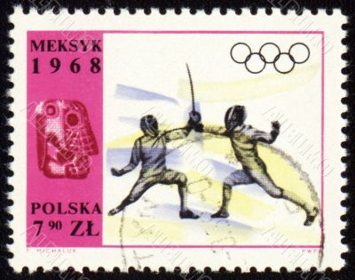 Fencing on post stamp of Poland
