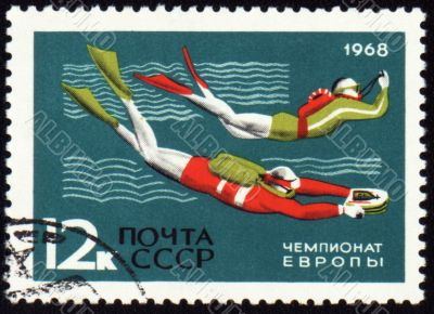 Post stamp shows diving competition