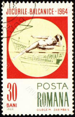 High jump on post stamp
