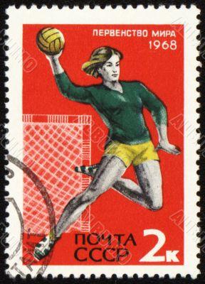 Handball player on post stamp