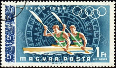 Rowing on post stamp