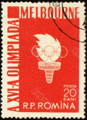 Olympic torch on post stamp