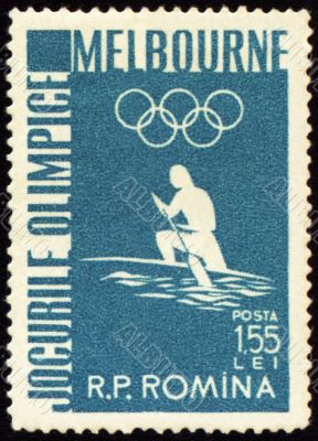 Canoe rowing on post stamp