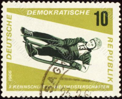 Descent to sledge on post stamp