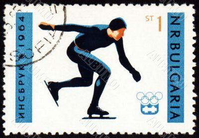 Skater on post stamp
