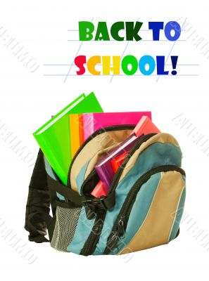 Backpack with colorful books
