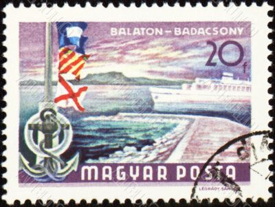 Passenger ship at Balaton lake on post stamp