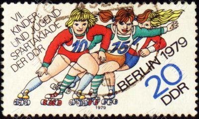 Roller skating on post stamp