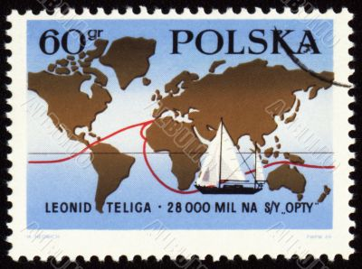 World tour of polish yachtsman Leonid Teliga on post stamp