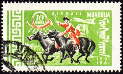 Post stamp with Mongolian horseman