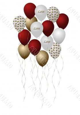 Bouquet of Red, Gold and White Balloons