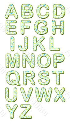 Teal and Lime Green Polka Dots Alphabet 3D