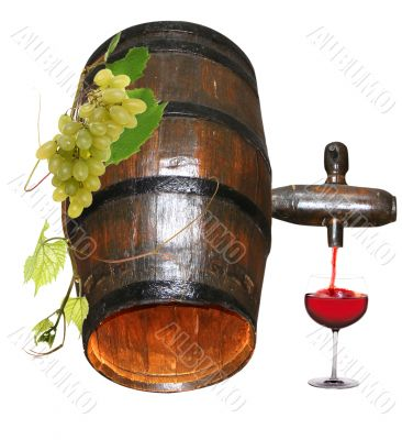 Barrel and glass of red wine
