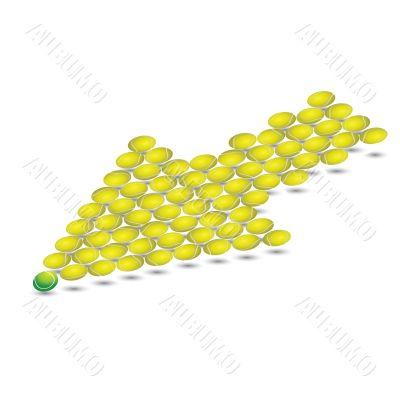 Yellow arrow from tennis balls. Vector illustration