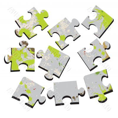 3-D a puzzle. Vector illustration