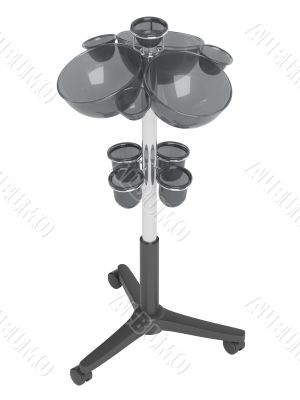 Salon trolley with spherical boxes