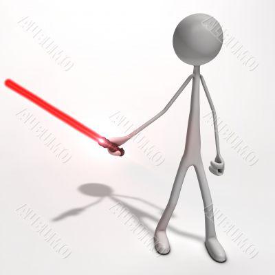 man with a light sword