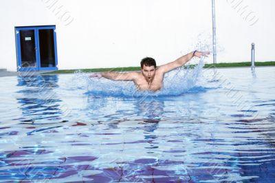 dynamic swimmer in pool