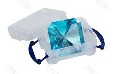 Large Blue Gem in a Plastic Crate
