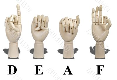Deaf Spelled out in Sign Language