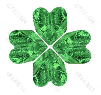 Green Four Leaf Crystal Clover