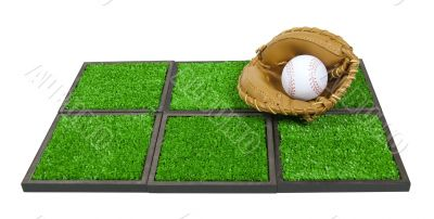Baseball Glove and Ball on Artificial Grass