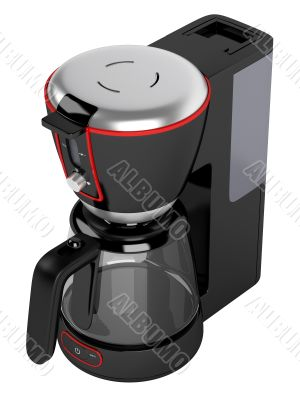 Cofee machine with red contour