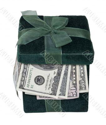 Green Gift Box Full of Money