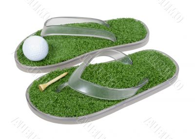 Golf Shoes with Grass