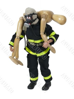 Fireman Carrying a Person to Safety