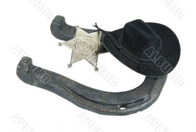 Horseshoe Sheriff Badge and Cowboy Hat