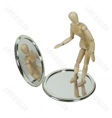 Wooden Model Observing Self in Compact Mirror