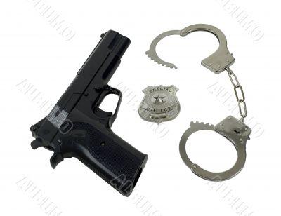 Police Badge Gun and Handcuffs