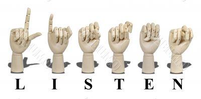 Listen Spelled in Sign Language - Letter