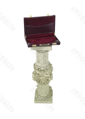 Open Briefcase on a Formal Pedestal