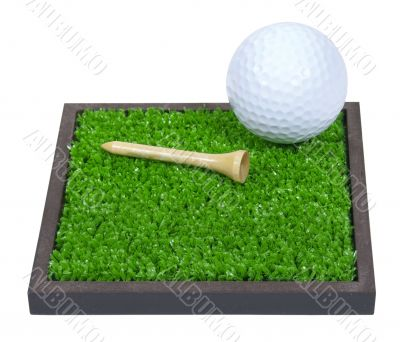 Golf Ball and Tee Laying on the Grass