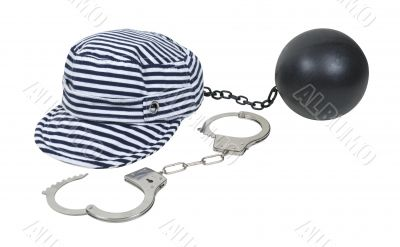Jailbird Striped Hat with Ball and Chain and Handcuffs