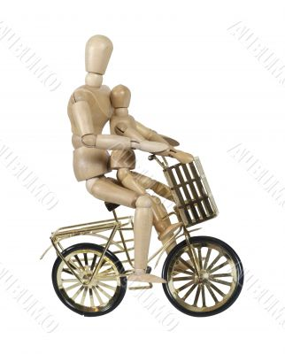 Parent and Child Riding Golden Bicycle with Basket